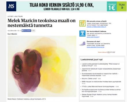 Hs.fi: Melek MAZICIn teoksissa maali on nestemäistä tunnetta