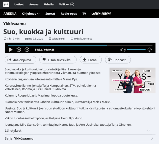 Radio interview Yle Ykkösaamu, the 9th of March