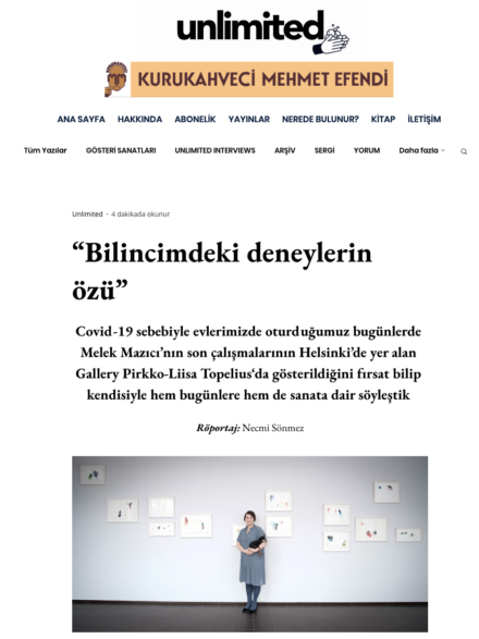 Interview and article in Turkish magazine Art Unlimited